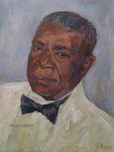 black man in a white tuxedo