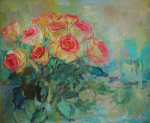 bunch of pink roses with the blue background