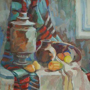 samovar, jar and pears set on the table