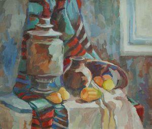 Samovar with clay jar pears on a table