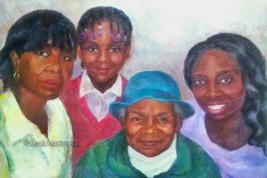 family of four: grandmum, mum and two daughters