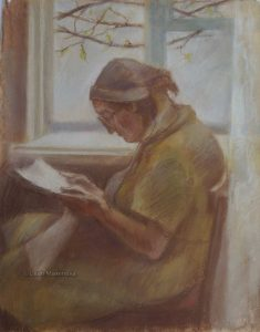 old woman reading a book by window