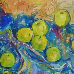 the painting of green apples with blue background
