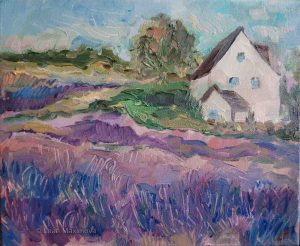 farmhouse surrounded by lavender fields