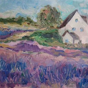 farmhouse surrounded by lavender field
