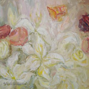 the painting of lilies and roses set with beige background