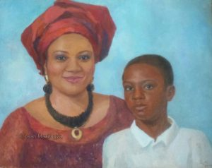 woman in red dress with her son in white shirt