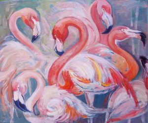 five pink flamingos with blue background