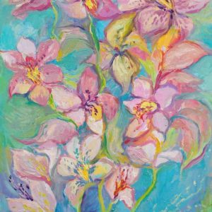 pink orchid flowers on a turquoise background