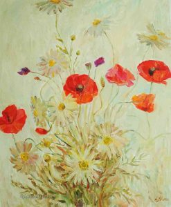 red poppy flowers with chamomile flowers