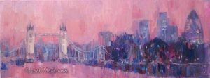 a painting of tower bridge with red background