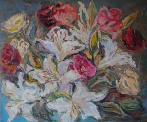 flower composition of roses and lilies