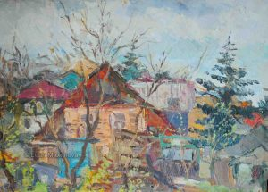 houses in Russian sloboda covered in trees