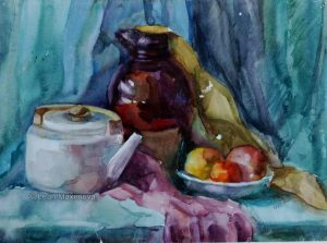 tea pot with Jug and bowl of fruits on a table