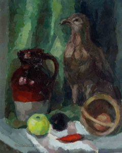 bottle, jar and apple on the table